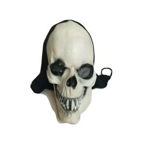 Vintage Halloween Mask 1995 Paper Magic Group Skull Black Hood 90s Skeleton
